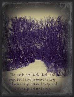 """""""The woods are lovely, dark, and deep, but I have promises to keep, and miles I go before I sleep, and miles to go before I sleep."""" - Robert Frost"""
