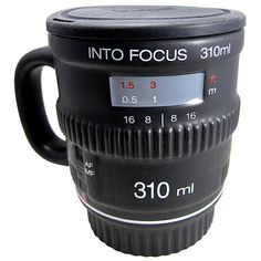 Into Focus 35mm Camera Lens Coffee Mug with Lid