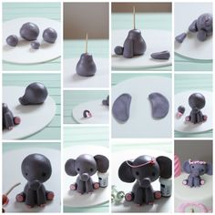 Fine crafts: elephant tarts for the birthday- Feines Handwerk: Elefanten-Törtchen zum Geburtstag Fine crafts: elephant tarts for the birthday - Fondant Cake Toppers, Fondant Figures, Fondant Cakes, Cupcake Cakes, Cupcakes, Baby Elephant Cake, Elephant Cake Toppers, Cake Topper Tutorial, Fondant Tutorial