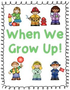 This is a page to create a class book on what the students want to be when they grow up.  Students can trace the sentence starter (When I grow up...) and then finish with their own writing.  There is also space for an illustration.  I have also included a cover for your class book.