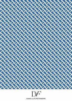 DVF   Chain Link Medium Blue print, Spring 2013: Palazzo