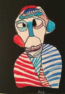 Jean Dubuffet 'Brut Art' continuous line portraits. Art project for kids