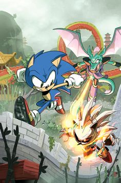 "Sonic is speeding down the Dragon Road in ""Wings of Fire,"" Part One: Sonic and the Freedom Fighters travel to city-state of Chun-nan in search of more Gaia Keys Sonic The Hedgehog, Hedgehog Art, Shadow Sonic, Neon Genesis, Sonic Fan Art, Wings Of Fire, Archie Comics, Freedom Fighters, Chibi"