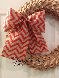 "8"" red and brown Burlap Chevron wreath bow  by OOPSYDAISYDESIGNS, $8.00"