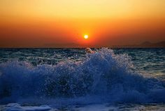 sunsurfer:    Breaking Wave Sunset, Rhodes, Greece  photo by esther