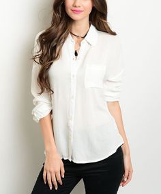 Look what I found on #zulily! Ivory Button-Front Long-Sleeve Top #zulilyfinds