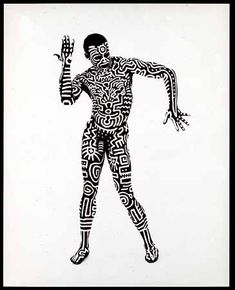 Tribal Keith Haring. Choreographer Bill T. Jones with body paint by Keith Haring, 1983. 15 3/4 x 18 in. (40 x 45,5 cm.). © Muna Tseng Dance Projects Inc. © Keith Haring Foundation. Photo: Tseng Kwong Chi.