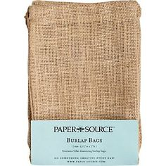 Burlap Drawstring Bags from Paper Source - $9.95 for 5 tie with red stripe cotton ribbon #497622 & metal trim tags #433447