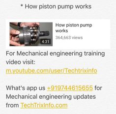 http://youtu.be/BEpQFZ5BG8c  Watch the tutorial on how a piston pump works for more updates what's app +919744615655