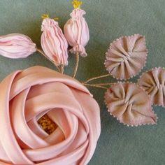 Antique Silk Satin Ribbon Rose