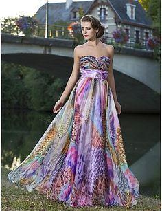 Sheath/Column Sweetheart Strapless Floor-length Chiffon Evening Dress With Flower(s) - USD $ 195.99