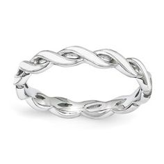 Stackable Expressions Sterling Silver White Enamel Ring