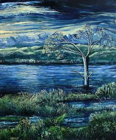 Twilight at the River. Oil on canvas by Caroline Street. River Painting, Lucid Dreaming, Beautiful Paintings, Landscape Art, Twilight, Oil On Canvas, Digital Art, My Arts, Street View