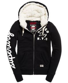 Shop Superdry Womens Applique Borg Zip Hoodie in Black. Buy now with free delivery from the Official Superdry Store. Next Sportswear, Aeropostale, Superdry Fashion, Swag Outfits Men, Track Suit Men, Revival Clothing, Expensive Clothes, Chinese Clothing, Jacket Style