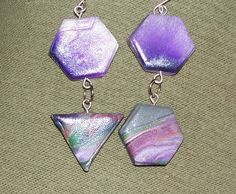 Asymmetrical polymer clay earrings  | MarquisCreations - Jewelry on ArtFire
