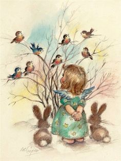 Mainstream Illustration, M. Angels and Birds on a Tree,The Norcross Greeting Card Collection. Pencil and wa. Christmas Bird, Retro Christmas, Vintage Christmas Cards, Christmas Images, Christmas Angels, Vintage Pictures, Vintage Images, Vintage Sweets, Illustration Noel
