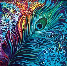 Peacock art - love the vibrant colors