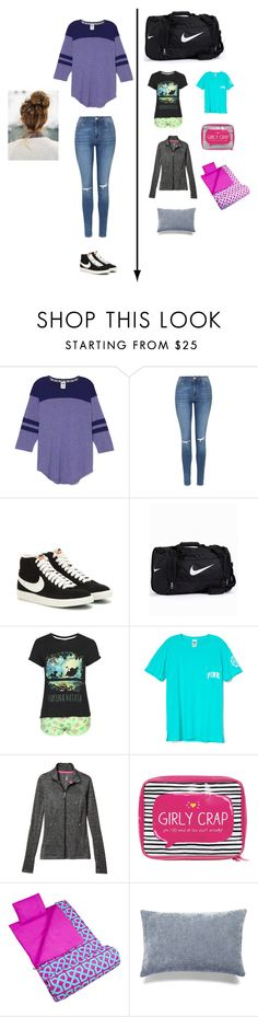 """Sleepover OOTD and OOTN plus what to pack! March 5th"" by nerdgirl18 ❤ liked on Polyvore featuring Topshop, NIKE, Victoria's Secret, Happy Jackson, Wildkin, Bluebellgray and OOTDnerdgirl18"