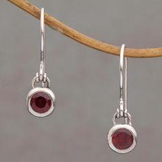 Garnet dangle earrings, 'Glowing Paws' - Garnet and Sterling Silver Dangle Earrings from Bali