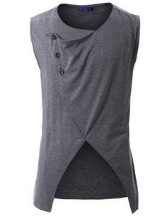 Amazon.com: Doublju Mens Jersey Vest with Asymmetry Button: Clothing