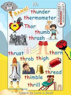 English Lessons For Kids, Learn English Words, Reading Fluency, Reading Activities, Word Family List, Learning Websites For Kids, Th Words, Phonics Chart, Phonics Lessons