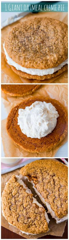 This simple recipe makes one GIANT little debbie oatmeal creme pie! It's so, so good!