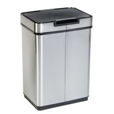 Honey-Can-Do 13 Gal. Stainless Steel Touchless Sensor Trash Can, Silver metallic Trash And Recycling Bin, Wood Waste, Kitchen Trash Cans, Digital Timer, Garbage Can, Simple Bags, Brushed Stainless Steel, Cleaning Wipes, Chrome