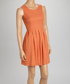 Another great find on #zulily! Peach Mesh-Back Fit & Flare Sleeveless Dress by The City Fashion #zulilyfinds