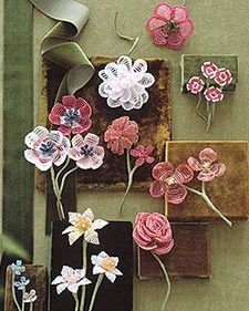 """How to make beadflowers. Not really a tutorial (?), just description. And """"pattern"""" (numbers). Small Camellia, Large Camellia, Small Azalea, Large Azalea, Small Anemone, Large Anemone, Forget-Me-Not, Small Daffodil, Large Daffodil, Rose, Dogwood Blossom, Sweet William."""