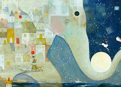 signed and dated archival prints by two time Caldecott Honor winning childrens book illustrator & artist Pamela Zagarenski. Dragonfly Wings, New Pictures, Love Art, Childrens Books, Elephant, Greeting Cards, Illustration, Artwork, Artist