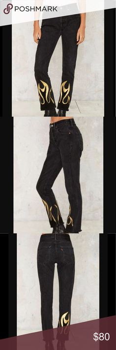 #5007 🦁💛 New Arrivals! Hang fire jeans After Party by Nasty Gal is our arsenal of essentials made with love in Downtown Los Angeles. Each piece is sustainably sourced using only reworked vintage or deadstock fabrics. These jeans are made in black denim and feature a high-waisted fit, 5-pocket design, zip fly closure, and gold leather flames at hem. Vintage is where we started and it's here to stay. Nasty Gal Jeans