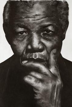 Nelson Mandela charcoal portrait by Chaz Williams
