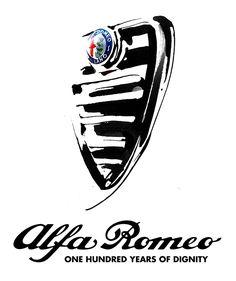 Alfa Romeo official art, black & white ink illustration by Eri Griffin http://www.erigriffin.com/