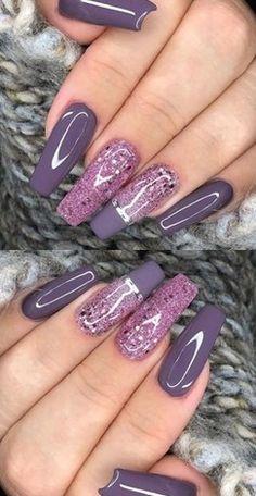 ✔ 72 Fabulous Ways tо Wear Glitter Nails Lіkе а Princess summernails nailsart nailsdesign nailartdiy nailartgallery nailartideas fakenails nailfashion nudenails 741616263623527795 Purple Glitter Nails, Purple Acrylic Nails, Purple Nail Art, Best Acrylic Nails, Cute Acrylic Nail Designs, Purple Nail Designs, Nail Art Designs, Nails Design, Dope Nails
