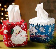 Bucilla Christmas Tissue Box Covers Felt Home Decor Kit 86423 Santa Snowflake Plastic Canvas Ornaments, Plastic Canvas Tissue Boxes, Plastic Canvas Crafts, Felt Ornaments, Christmas Stocking Kits, Christmas Sewing, Felt Christmas, Christmas Crafts, Christmas Holidays