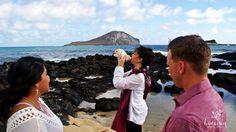 Blowing the conch shell at a traditional Hawaiian ceremony. Ceremony location at Makapuu on Oahu (Honolulu). #HawaiianWeddingOfficiant