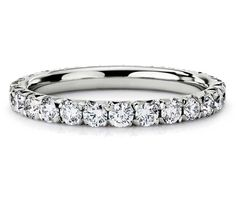 French Pavé Diamond Eternity Ring in Platinum 1ct