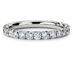Blue Nile French Pavé Diamond Eternity Ring in Platinum  #wedding #ring