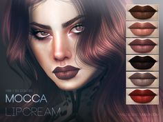 http://pralinesims.tumblr.com/post/153942955512/lipstick-in-20-brownish-tones-download#notes