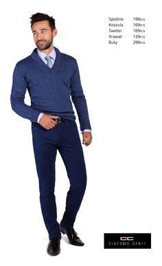 Propozycja casualowa Giacomo Conti z niebieskiem swetrem Paolo 13/54 CS i granatowymi spodniami Federico slim #giacomoconti