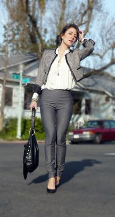chic for work -- Jacket/blazer : H&M  Blouse : Zara  Pants : H&M  Bag and Shoes : Zara  Earrings : Little boutique in Toulouse  Pendant : Vintage