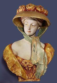 Art Nouveau Teplitz Riessner Kessel Amphora Porcelain Lady in Rose Bonnet Bust | eBay
