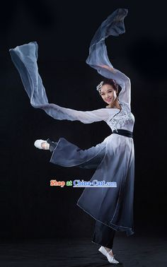 be16959e4 Color Transition Chinese Brush Drawing Dancing Costumes with Long Sleeves