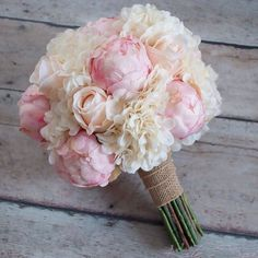 Love the combination of soft blush roses and peonies accented with ivory hydrangeas and burlap in this silk wedding bouquet. Shabby Chic Wedding Bouquet - Peony Rose and Hydrangea Ivory and Blush Wedding Bouquet with Burlap Wrap by Kate Said Yes Weddings: Peony Bouquet Wedding, Peonies Bouquet, Bride Bouquets, Floral Wedding, Chic Wedding, Pink Hydrangea Bouquet, Summer Wedding, Peonies And Hydrangeas, Blush Bouquet