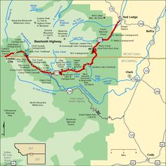 Beartooth Highway map via America's Byways. -- The most beautiful drive EVER! Wyoming Vacation, Yellowstone Vacation, Yellowstone National Park, Beartooth Highway, Highway Map, Big Sky Montana, Rv Parks And Campgrounds, Red Lodge, Travel Info