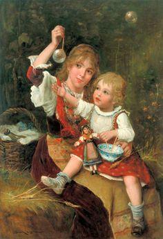 Soap Bubbles-Lajos Bruck (1846 – 1910, Hungarian)