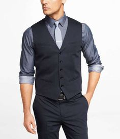 NAVY COTTON SATEEN SUIT VEST for $80 / Wantering