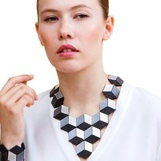 My best seller. With this large geometric necklace you are sure to make a statement Geometric Necklace, Geometric Jewelry, Modern Jewelry, Contemporary Jewellery, Leather Necklace, Leather Jewelry, Beaded Jewelry, Leather Ring, Jewelry Art