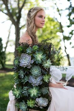 Succulent Chair Backs made out of real succulents| Blue & Green , Succulents…