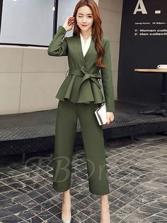 Tbdress.com offers high quality V-Neck Lace-Up Long Sleeves Women's Pants Suit Pants Suits unit price of $ 31.99.